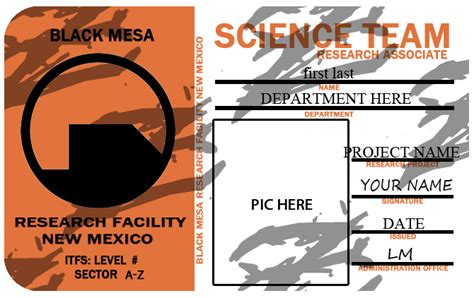 black mesa id card template black mesa id template by zanderyurami on deviantart
