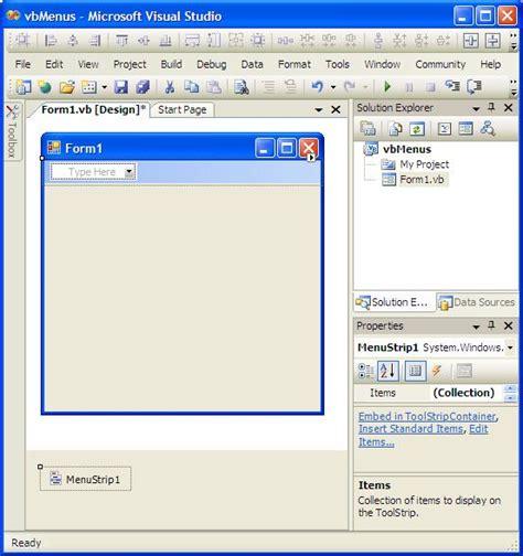 layout menu visual studio 2010 creating top level menus in visual basic techotopia