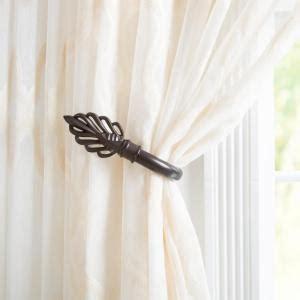 curtain holdbacks home depot lavish home leaf holdback pair in rubbed bronze 63 19223a