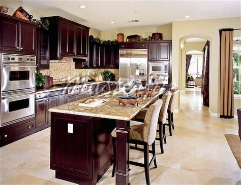 dark kitchen cabinets with light floors dark wood kitchen with light tile floor dream home