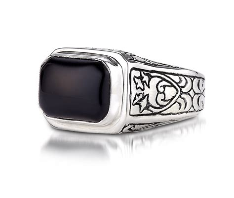 black onyx engraved ring in sterling silver