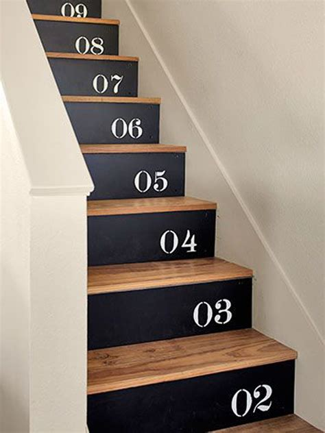 stenciled numbers stair  plywood homemydesign