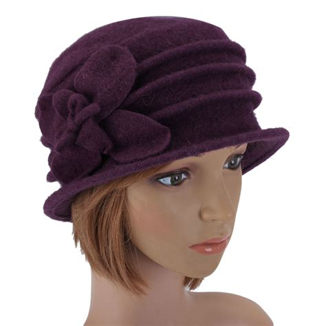 Camel Gray Purple 253 fashion 100 wool butterfly cloche hat felt