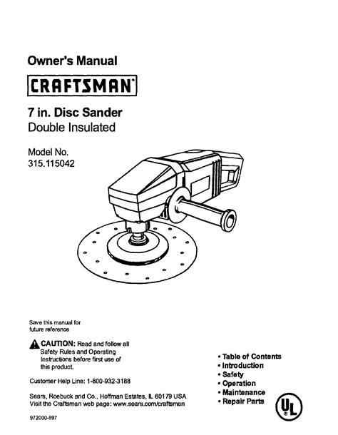 Craftsman Sander 315 115042 User Guide Manualsonline Com