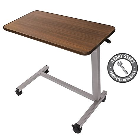 table with wheels amazon co uk medical adjustable overbed bedside table with wheels