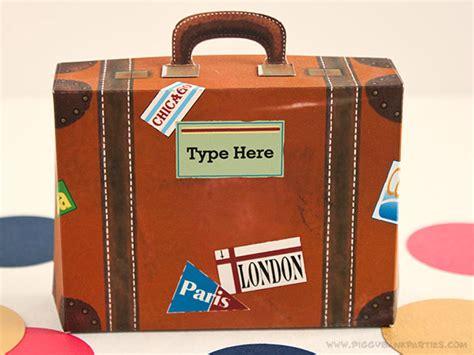 vintage suitcase favor box diy printable  file