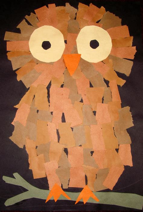 Owl Craft Paper - owl craft made from rectangles preschool items juxtapost