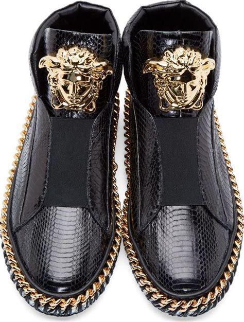versace black snakeskin medusa sneakers handmade luxury