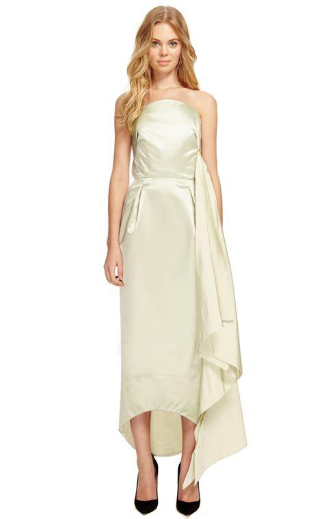 side drape dress celery duchess satin side drape dress by rosie moda operandi