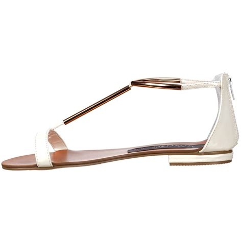 Sandal Crome onlineshoe t bar gladiator flat sandal gold chrome bar white patent onlineshoe from