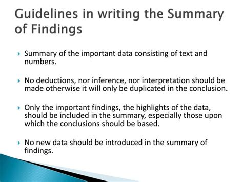 what should be in the summary of a resume ppt summary of findings conclusions and recommendations