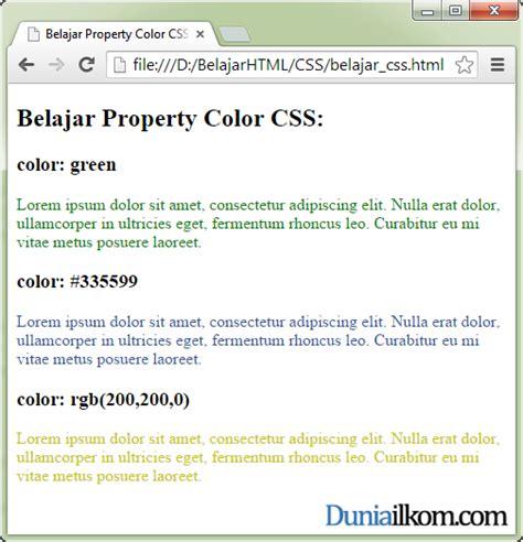 Tutorial Css Dalam Bahasa Indonesia | tutorial belajar css cara merubah warna teks font html