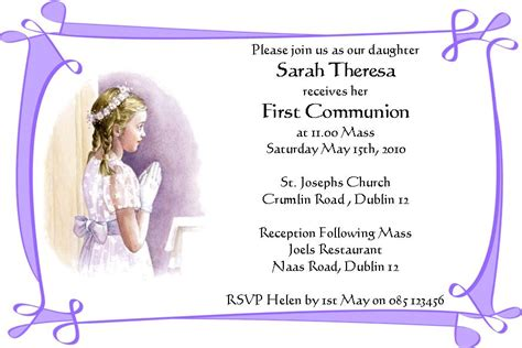 card invitation ideas first communion invitation cards