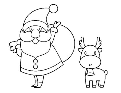 santa claus and reindeer coloring page coloringcrew com