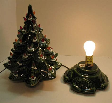 small vintage ceramic christmas tree light up base faux