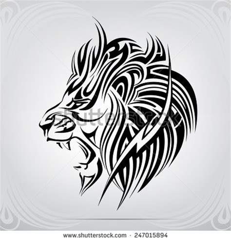roaring lion tribal tattoo graphic silhouette roaring stock vector illustration