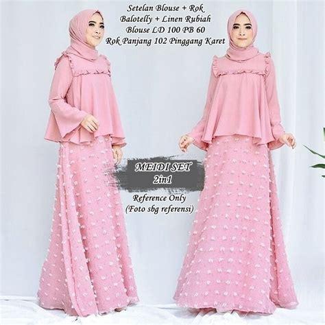 Baju Muslim Wanita Stelan Baju Muslim 2in1 St Simetris Abuabu ayu set 2in1 pink baju pesta busana muslim modern model gamis terbaru