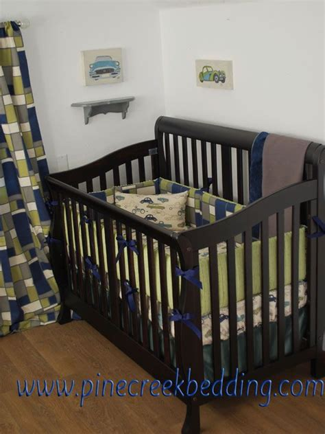 vintage car crib bedding navy and green car theme crib bedding with retro rides