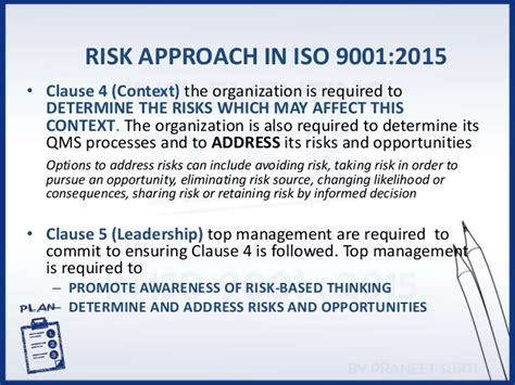 risk and opportunity management plan template implementing risk based thinking in hls of iso 9001 2015