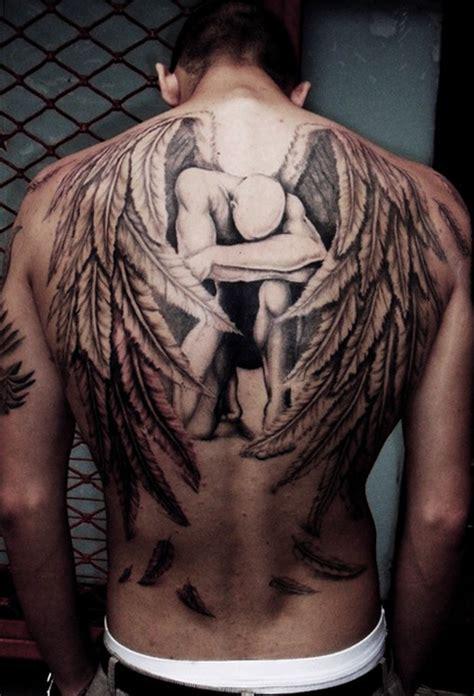 tattoo sad angel sad male angel grey ink tattoo on back tattooshunt com