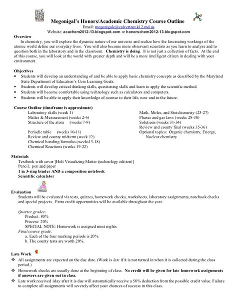 Fins2624 Course Outline 2012 by Honors Academic Chemistry Course Outline 2012 2013