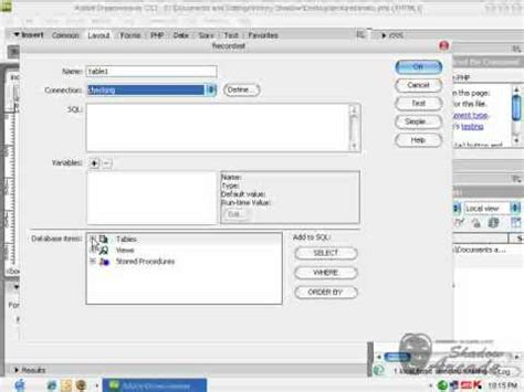 dreamweaver recordset tutorial php mysql dreamweaver creating recordset for form input