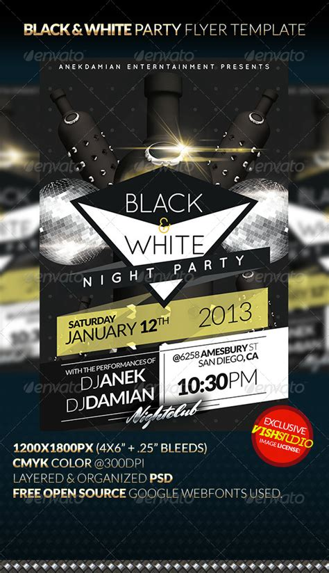 Black White Party Flyer Template Graphicriver Black Flyer Template