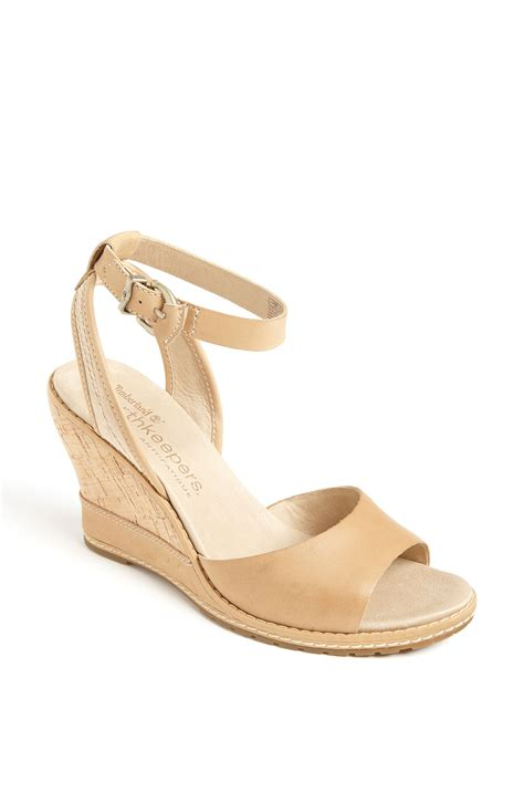 light brown wedge heels timberland earthkeepers maeslin wedge sandal in beige