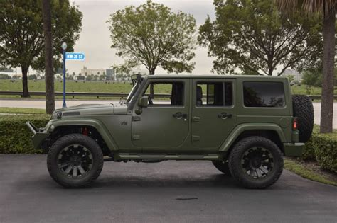 matte dark green jeep spotlight custom matte green jeep wrangler