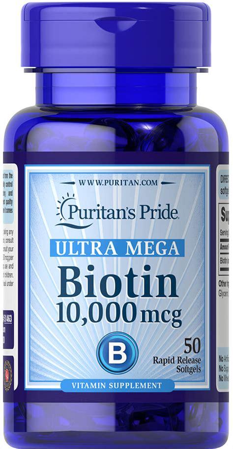 Biotin 10000mcg Puritans Pride biotin 10 000 mcg 50 softgels b vitamins supplements puritan s pride