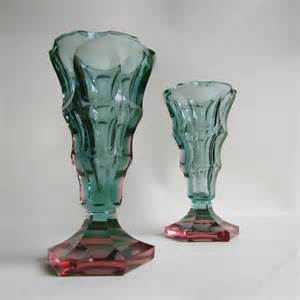 antiques atlas deco cut glass vases by alfred stossel