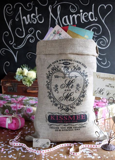 wedding post box sack shabby chic weddding personalized