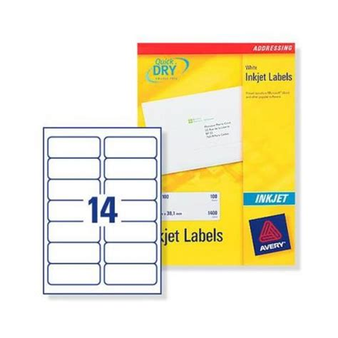avery 14 labels per sheet template avery quickdry inkjet label 99 1x38 1mm 14 per sheet pack