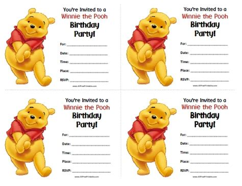 winnie the pooh birthday invitations gangcraft net