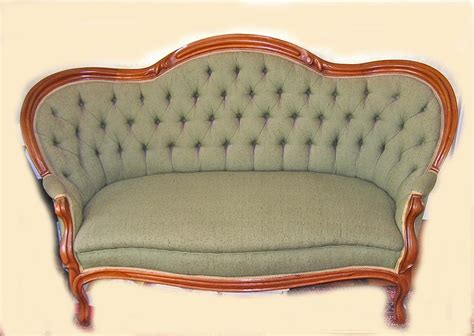 settee sales antique rococo revival walnut finger roll green dupioni