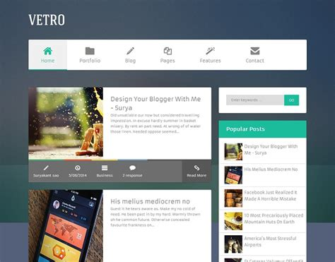 best designed blog flat vetro magazine blogger template 187 abtemplates com