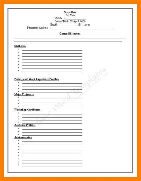 cv template just fill in 10 blank resume template mla cover page