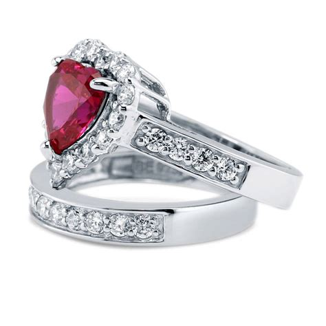 ruby 6 2ct silver shaped simulated ruby cz halo engagement ring