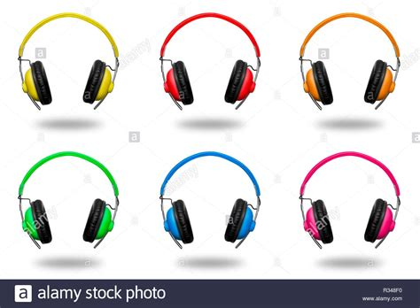 colorful headphones colourful headphones stock photos colourful headphones