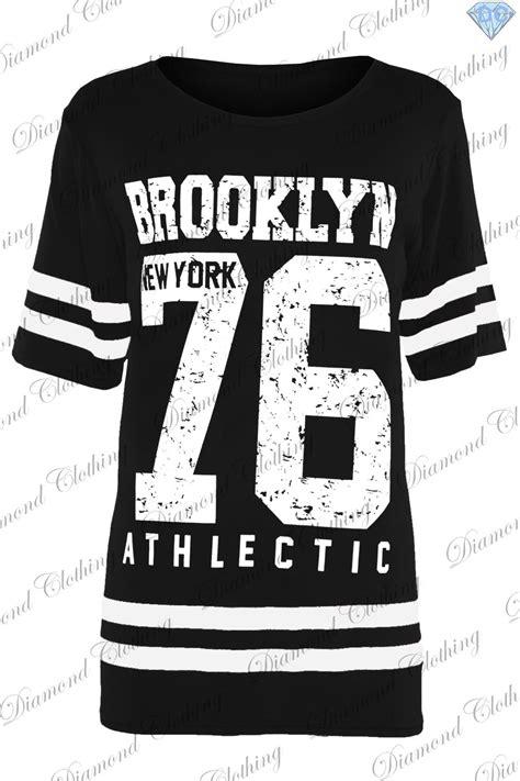 Black New York Oversize Top 3165 womens baggy t shirt usa american varsity oversized