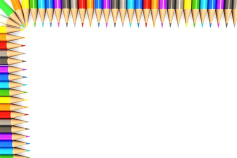 Notice Clipart School Background Pencil And In Color by White Background Made Of Colorful Pencils Border Stock