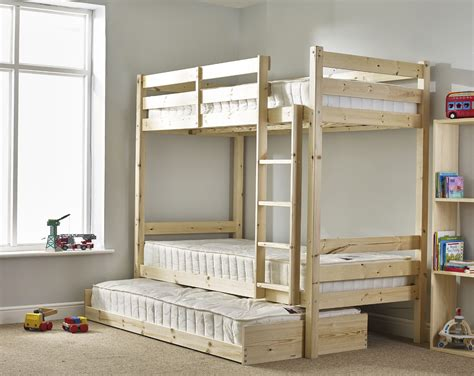 Bunk Bed With Guest Bed Everest 3ft Single Length Solid Pine High Bunk Bed With Guest Bed