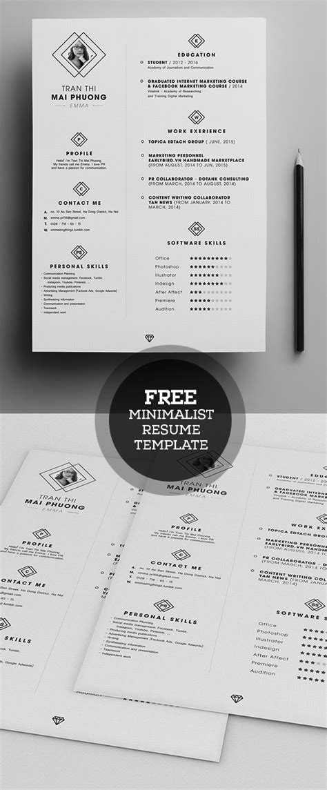 Free Minimalistic Cv Resume Templates With Cover Letter Template Design Graphic Design Junction Minimalist Resume Template