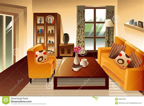 online drawing room modern living room space stock vector illustration of art