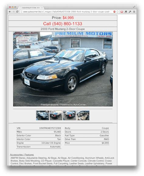 craigslist car template craigslist and backpage templates autocorner used car