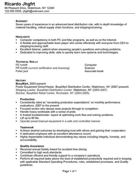 sample resume for warehouse position resume sample for warehouse
