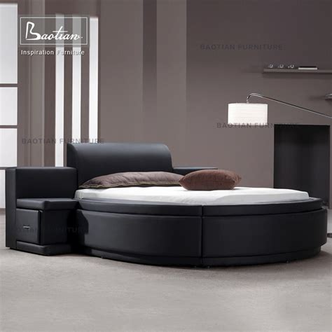 round leather bed new fashion design genuine leather round bed with drawers