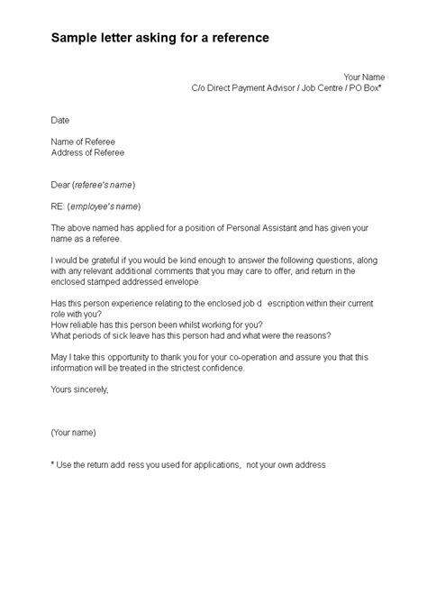 reference request letter template templates
