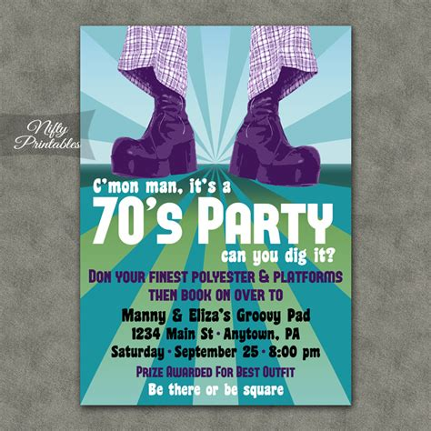 70 birthday invitation template 70s invitations nifty printables
