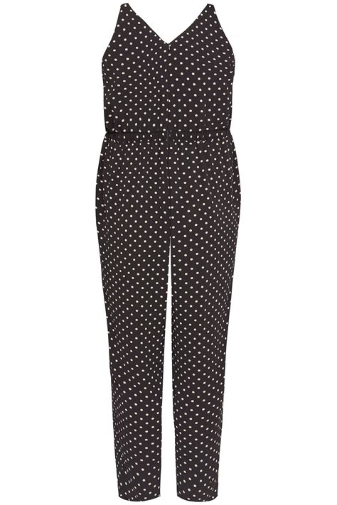 dot js template plus size black polka dot jumpsuit sizes 16 to 36